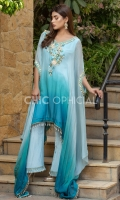 Color Gradient Chiffon Cape adorned with resham floral motif embellished with sequins stones pearls and lace flowers. Edges of cape is embellished with pearl hangings paired up with organza pleated boot cut pants