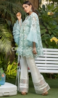 Self Embroidered Net wrap embellished with handwork of sequins, fabric manipulated petals, kora and stones paired up with organza patch detailed cotton silk boot cut pants