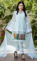 Premium Cutwork net fabric paneled with self print organza panels with lace and organza details beautified with anchor Japanese handwork art paired up with detailed pants and pearl studded chiffon dupatta