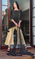 Beautiful  Velvet tail frok is glamorized by details of pearls, stones, bead work and sequins, stylized it with jamawar wideleg pants and beautified it with screen print net dopatta