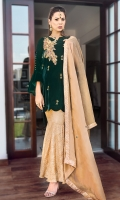 Beautiful  Velvet Outfit is glamorized by dainty details of peacock with pearls, stones, bead work and sequins, stylized it with jamawar peplum pants and beautified it with masoori dopatta with jamawar borders.