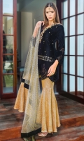 Beautiful Laser cut Black Velvet Outfit is glamorized by handwork of pearls, stones, bead work and sequins, stylized it with jamawar peplum pants and beautified it with screen print net dopatta with velvet borders.