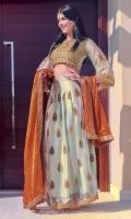 Premium Masoori Blouse embellished with handwork of zardozi , diamonties, pearls with intricately designed birds motif paired up with embellished net skirt stylised it with embellished stone studded masoori dopatta.