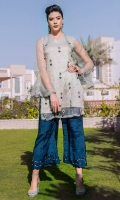 Premium organza shirt embellished with handwork of crystals stones and sequins paired up with scallop pants