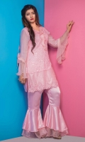3pc Khaddi shirt embellished with ruffles and pearls stylized it with pink silk statement pants and contrast color dopatta