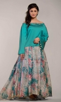 2pc silk jacket embellished with metallic leaves on neckline and edges paired up with digital printed shamooz silk skirt