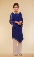 2 pc Chiffon a-symmetrical cut top embellished with stones and diamante on neckline paired up with pearl studded silk trousers