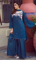 Premium chiffon suit embellished with hand work of kora nakshi sequins pearls and 3d flowers modernized with balloon sleeves stylized with wide box pleated pants and chiffon dopatta