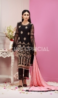 Net fabric Embellished with sequin and crystals with embroidered sleeves and back and embroidered chiffon dupatta paired up with embroidered bunch trousers