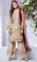 Shirt: Premium Embroidered Organza and 3D floral Net Shirt embellished with handwork of pearls stones and crytals  Pants: Lace embellished boot cut pants  Dopatta: Screen Print Net dopatta embellished with fringe lace