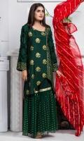 Shirt: Premium Cotton silk Shirt embellished with block prints and laces  Pant: Net Gharara pants  Dopatta: Gota and Stone studded chiffon dopatta