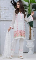 Shirt: Premium Cotton net shirt embellished with machine embroidered boder with laces and contrast color triangles  Pant: Rawsilk embellished pants  Dopatta: Net Dopatta embellished with Lace