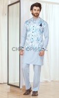 Waistcoat : Self Embroidered Jamawar Fabric Pants: Wash & wear fabric with straight cut pants Shirt : Wash and wear fabric with thread and fabric detailing