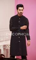 Premium Self Block sherwani kurta paired up with cotton trousers