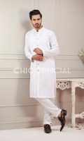 Premium Cotton Embroidered sherwani kurta paired up with cotton trousers