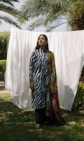 Black and white zebra printed shirt and sleeves paired with a chiffon printed dupatta and an additional embroidered sleeve patch.