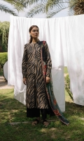 Black and brown zebra printed shirt and sleeves paired with a chiffon printed dupatta and an additional embroidered sleeve patch.