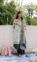 Ice blue printed shirt with sleeves paired with a printed chiffon dupatta with an additional embroidered sleeve patch and dyed cambric trouser.