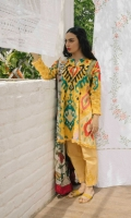 Pineapple yellow printed shirt and sleeves with an embroidered neckline paired with a printed chiffon dupatta and printed cambric trouser.