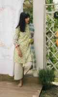 Lime green printed shirt and sleeves with embroidered sleeve border extension paired with a printed jacquard dupatta and dyed cambric trouser and an additional embroidery patch.