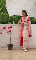 Punch pink printed shirt and sleeves with embroidered sleeve border extension paired with a printed jacquard dupatta and dyed cambric trouser and an additional embroidery patch.