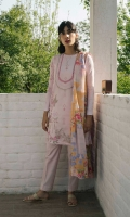 Powder pink fully embroidered shirt with printed back and sleeves paired with jacquard printed dupatta and dyed cambric trouser.