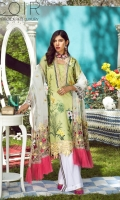 1.25 Yards Printed Lawn Front 1 Yard Embroidered Organza 1inch Neck Border 1 Yard Embroidered Organza 2inch Neck Border 1 Yard Embroidered Organza Front Border 1.25 Yards Printed Lawn Back 0.75 Yard Printed Lawn Sleeves 2.75 Yards Embroidered Net Dupatta 2.50 Yards Cambric Pants 2.50 Yards Cambric Pants 5 Yards Embroidered Organza Pants Border