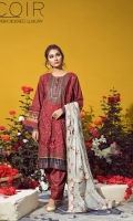 1.25 Yards Embroidered Printed Lawn Front 1.25 Yards Printed Lawn Back 0.75 Yard Printed Lawn Sleeves 1.50 Yards Embroidered Organza Sleeve Border 2.75 Yards Embroidered Khadi Net Dupatta