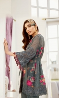 Embroidered Bamberg Chiffon Front: 1 Yard Embroidered Organza Front Border : 1 Yard Embroidered Bamberg Chiffon Back : 1 Yard Embroidered Organza Back Border : 1 Yard Embroidered Bamberg Chiffon Sleeves : 0.75 Yard Embroidered Organza Sleeves Border : 1 Yard Embroidered Bamberg Chiffon Dupatta : 2.75 Yards Rawsilk Trouser : 2.5 Yards Embroidered Organza Trouser Border : 1 Yard