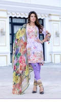 Digital Printed Shirt With Embroidered Front  Back Printed  Printed Chiffon Duptta  Dyed Trouser