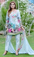 Digital Printed Shirt With Embroidered Front  Back Printed  Embroidered Crinkle Chiffon Duptta  Dyed Trouser
