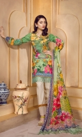 Lawn Digital Front : 1.25 m Lawn Digital Back : 1.25 m Lawn Printed Sleeves : 0.65 m 100% Pure Chiffon Dupatta : 2.5 m Dyed Cotton Trouser : 2.5 m  Embroidery Embroidered Front Patches: 2 Piece Embroidered Border : 1.5 m