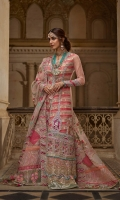 1. 1.1 meters Chata Patti and Embroidered Front 2. 1.9 meters Solid Dyed Net 3. 2 meters Gota Border for Daman 4. 4 meters Gota Border for Lehnga 5. 1 Embroidered and Sequined Back Motif 6. 2 Appliqued, Embroidered and Sequined Daman 7. Appliqued, Embroidered and Sequined Windows for Front 8. Hand Embellished Tassels 9. 2 meters Tareez Patti 10. 3 meters Talpat Patti 11. 1.4 meters Gold Printed Pure Medium Organza for Dupatta 12. 5 meters Embroidered and Sequined Zig Zag Border for Dupatta 13. 2 meters Diamond Chata Patti Border for Dupatta 14. 2 meters Booti Embroidered and Sequined Border for Dupatta 15. 2 meters Linear Embroidered and Sequined Border for Dupatta 16. 2 Chata Patti, Embroidered and Sequined Cuffs for Sleeves 17. 5 meters Solid Dyed Rawsilk Pant 18. 2.5 meters Solid Dyed Cotton Silk Lining