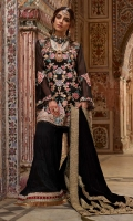 1. 0.67 meters Naqshi Embroidered Front on Pure Katan Organza 2. Front and Back Appliqued and Naqshi Embroidered Daman and Slits 3. Appliqued and Naqshi Embroidered Sleeve Border 4. 1 Appliqued and Naqshi Embroidered Panel for Back 5. 3 meters Embroidered and Sequined Border on Green Rawsilk 6. 3 meters Embroidered and Sequined Border on Pink Rawsilk 7. 3 meters Embroidered and Sequined Border on Red Rawsilk 8. 3 Ada Worked Buttons 9. 2.5 meters Marori Worked Velvet Shawl with Borders 10. Solid Dyed Cotton Net for Sleeves and Back 11. 2.5 meters Solid Dyed Rawsilk Pant 12. 2.5 meters Cotton Silk Lining