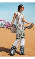 1.25 METERS FLAT BELT PRINTED FRONT ON PIMA LAWN WITH EMBROIDERY 1.25 METERS PRINTED BACK ON PIMA LAWN 0.65 METERS PRINTED SLEEVES ON PIMA LAWN 1 EMBROIDERED DAMAN ON COTTON 1 METER EMBROIDERED SLEEVE LACE 4 EMBROIDERED PATCHES FOR PANTS 1 CHAMOISE PRINTED BORDER FOR PANTS 2.5 METERS EMBROIDERED PATTI FOR NECKLINE 2.5 METERS PASTE PRINTED PANTS 2.5 METERS PRINTED MEDIUM SILK DUPATTA