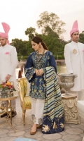 1. 0.8 meters Embroidered Lawn Front with Sheesha  2. 0.8 meters Embroidered Lawn Back with Sheesha  3. 0.65 meters Embroidered Lawn Sleeves with Sheesha  4. 0.5 meters Solid Dyed Side Panels for Extension  5. 2.5 meters Pant with Hand Printed Border  6. 2.5 meters Medium Silk Dupatta with Foiling