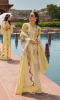 1. 0.8 meters Embroidered Front on Slub Lawn 2. 0.8 meters Embroidered Back on Slub Lawn 3. 1 meter Slub Lawn for Sleeves and Side Panels 4. 1 Embroidered Neckline with Crystal Work 5. 1 meter Embroidered and Sequined Sleeve Lace on Organza 6. 1.6 meters Embroidered and Sequined Daman Lace on Organza 7. 1 meter Embroidered Sleeve Border 8. 4 Embroidered Slits on Slub Lawn for Pants 9. 2.5 meters Schifli Embroidered Dupatta on Swiss Lawn 10. 2.5 meters Embroidered Inserts on Organza for Dupatta 11. 2.5 meters Solid Dyed Pant