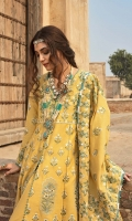 1 Sheesha Embroidered Front Yoke on Karandi 4 Sheesha Embroidered Panels on Karandi 1.1 meters Sheesha Embroidered Back on Karandi 0.65 meters Sheesha Embroidered Sleeves on Karandi 0.8 meters Daman Border for Back 2.5 meters Sheesha Embroidered Shawl on Karandi 2.5 meters Solid Dyed Cambric Pant
