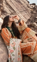 2 Marori Embroidered Center Panels on Khaddar 2 Marori Embroidered Side Panels on Khaddar 2 Marori Embroidered Godet on Khaddar 0.65 meters Marori Embroidered Sleeves on Khaddar 1.1 meter Marori Embroidered Back on Khaddar 0.70 meters Patti for Back Daman 1.1 meters Marori Embroidered Pant Border 2.5 meters Embroidered Wool Shawl with Border 2.5 meters Solid Dyed Cambric Pant