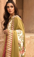 1 Marori Embroidered Front Panel on Karandi 2 Marori Embroidered Side Panels on Karandi 0.65 meters Marori Embroidered Sleeves on Karandi 0.80 meters Marori Embroidered Sleeve Patti 0.65 meters Back on Karandi with Marori Motif 0.33 meters Solid Dyed Karandi Extension for Shirt 0.90 meters Marori Embroidered Daman Patti 1 Embroidered Panel for Shawl 5 meters Embroidered Border on Rawsilk for Shawl 2.5 meters Solid Dyed Wool Shawl 2.5 meters Marori Embroidered Cambric Pant