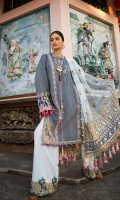 1. 2.50 meters Woven Fabric  2. 1 meter Embroidered Border for Sleeves with Gota   3. 1 Embroidered Neckline   4. 1.10 meters Embroidered Border for Pants   5. 4 Embroidered Slits   6. 2 Embroidered Motifs   7. 2 meters Embroidered Tape  8. 1.60 meters Embroidered Tape for Daman  9. 2.50 meters Solid Dyed Pant  10. 2.50 meters Chanderi Net Dupatta with Gota Work