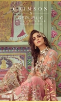 1. 1 meter Embroidered and Sequined Front on Net with Pearl and Crystal Work  2. 1 meter Embroidered and Sequined Back on Net  3. 1 meter Embroidered and Sequined Border for Sleeves   4. 0.65 meters Sheesha Worked Bazoo on Net  5. 1 Sheesha worked Neckline  6. 1 Back Motif  7. 1 Crystal Encrusted Hand Worked Motif for Neckline  8. 2.5 meters Embroidered and Sequined Dupatta on Net    9. 5 meters Gold Printed Rawsilk Pant  10. 2.5 meters Cotton Silk Lining