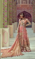 1. 0.65 meters Embroidered and Sequined Front on Net  2. 1.3 meters Embroidered and Sequined Side panels and Back on Net  3. 0.60 meters Embroidered Yoke for Front  4. 0.60 meters Crystal Encrusted Hand Worked Yoke for Back   5. 0.65 meters Embroidered Sleeves with Hand Work   6. 0.45 meters Hand Embellished Patti 1 for Neckline  7. 0.45 meters Hand Embellished Patti 2 for Neckline  8. 3 meters Gota Appliqued Chevron Border for Pant  9. 2.5 meters Hand Printed Katan Organza Dupatta with Gold Printing   10. 5 meters Solid Dyed Rawsilk Pant  11. 2.5 meters Cotton Silk Lining