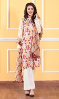 3 piece embroidered lawn suit with printed crinkle dupatta 2.5 meter, Embroidered front 1.3 meter, Embroidered sleeves 0.7 meter, Dyed back 1.3 meter, Dyed cotton trouser 2.5 meter.
