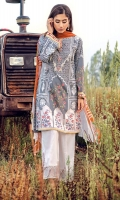 Digital printed 100% pima cotton lawn shirt Digital printed 100% pure crinkle chiffon dupatta Dyed cotton cambric trouser Embroidered neckline for shirt 1 pc Embroidered motifs for shirt neckline Embroidered patti for trouser 1 pc