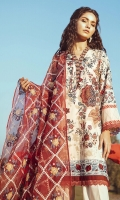 SHIRT  DIGITAL PRINTED LAWN DOBBY SHIRT 1.83 m 1 EMBROIDERED PATTI FOR SHIRT TROUSER  DYED CAMBRIC TROUSER 2.5 m DUPPATA  EMBROIDERED RAJJO NET DUPATTA 2.5 m