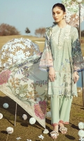 SHIRT  DIGITAL PRINTED LAWN SHIRT 1.82 m 1 EMBROIDERED NECKLINE 1 EMBROIDERED PATTI FOR SLEEVES TROUSER  DYED CAMBRIC TROUSER 2.5 m DUPPATA  DIGITAL PRINTED SILK DUPATTA 2.48 m