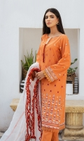 SHIRT LAWN EMBROIDERED SHIRT FRONT, BACK, AND SLEEVES,  TROUSERS DYED CAMBRIC TROUSER  DUPATTA EMBROIDERED RAJJO NET DUPATTA