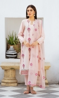 SHIRT LAWN EMBROIDERED SHIRT FRONT, BACK, AND SLEEVES  TROUSERS DYED CAMBRIC TROUSER  DUPATTA EMBORIDERED RAJJO NET DUPATTA