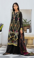 SHIRT LAWN EMBROIDERED SHIRT FRONT, BACK, AND SLEEVES  TROUSERS DYED CAMBRIC TROUSER  DUPATTA PRINTED VISCOSE SILK DUPATTA
